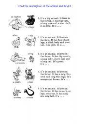 animal description esl worksheet by dineika. Black Bedroom Furniture Sets. Home Design Ideas