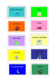 English Worksheet: Game Cards: PICTIONARY or MIMING