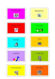 English Worksheets: GAME CARDS: PICTIONARY OR MIMING 2