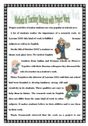 English Worksheet: METHODS OF TEACHING STUDENTS WITH PROJECT WORK