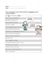 English Worksheets: Common Errors in English (Answers are included)