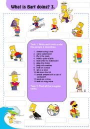English Worksheets: Actions: What is Bart doing? 3/3