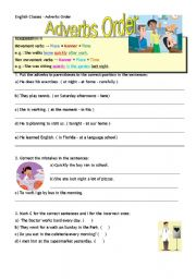 English Worksheet: Adverbs order - manner place time