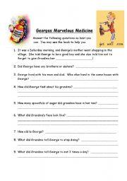 English Worksheet: George�s Marvelous Medicine