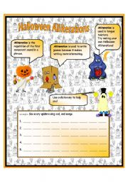 English Worksheet: Halloween Alliterations