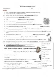 English Worksheet: Zero and First Conditional
