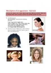 English Worksheets: Physical description 2 - hairstyles
