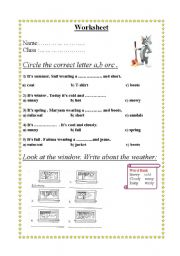 English Worksheets: Circle the correct letter a,b orc .
