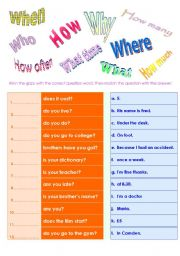English Worksheet: QUESTION WORDS and Making questions