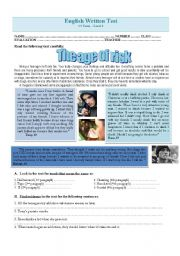 English Worksheets:  Test - The age of risk