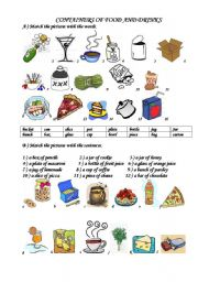 English Worksheet: containers of  food and drinks