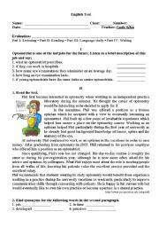 English Worksheet: 11th Grade test