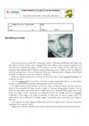 A written test about the film star Brad Pitt