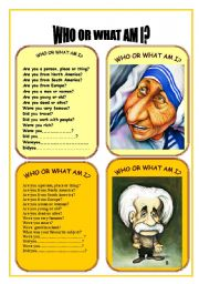 English Worksheets: CARD FOUR WHO OR WHAT AM I