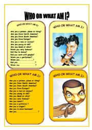 English Worksheet: CARD FIVE WHO OR WHAT AM I GAME