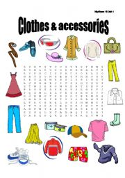 Clothes and accessories wordsearch