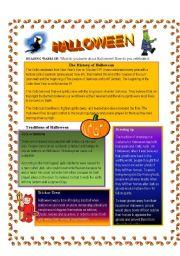 English Worksheets: Halloween History and Symbols
