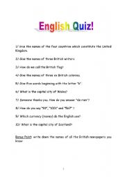 English Worksheets: 3O questions about English culture