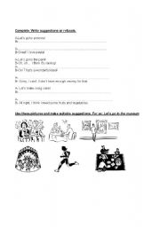 English Worksheets: Suggestions and refusals