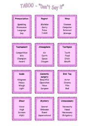 English Worksheets: TABOO - don�t say it!- game