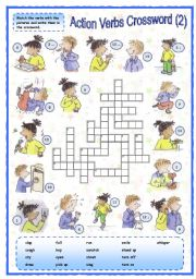 English Worksheets: Action verbs crossword (2 of 2)
