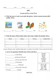 English Worksheet: Months, seasons and days of the week