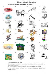 English Worksheet: Idioms / Idiomatic expressions
