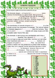 English Worksheet: KOMODO DRAGONS