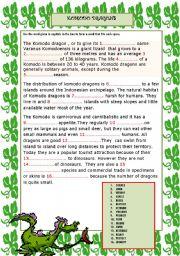 English Worksheets: KOMODO DRAGONS