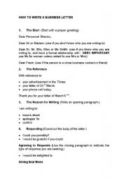how to write a basic business letter esl worksheet by iruka