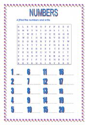 English Worksheet: numbers 1-20