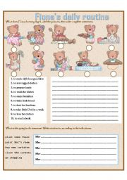 English Worksheets: Fiona�s daily routine