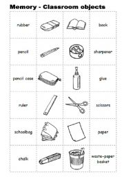 memory with classroom objects esl worksheet by l spra. Black Bedroom Furniture Sets. Home Design Ideas