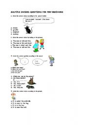 English Worksheets: multiple choiced questions for very elementary students