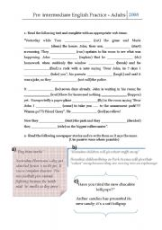 English Worksheets: Pre intermediate practice for young adults, and adults