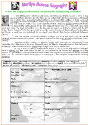 English Worksheet: Marilyn Monroe biography