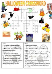 english worksheets halloween crossword - Halloween Crossword Puzzles With Answers