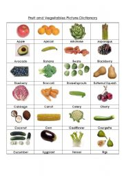 Fruit and Vegetables Picture Dictionary (very complete!)