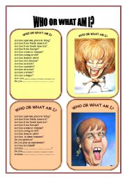 English Worksheet: CARD SEVEN OF WHO OR WHAT AM I GAME