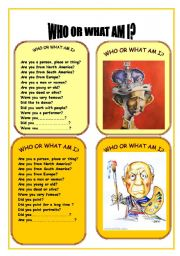 English Worksheet: CARD EIGHT OF WHO OR WHAT AM I GAME