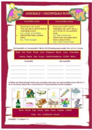 English Worksheets: Countable / Uncountable nouns