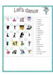 English Worksheets: 4 SKILLS - Let�s Dance