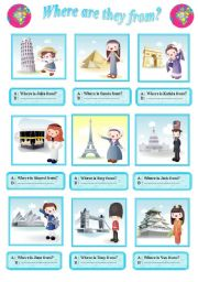 English Worksheets: Questions  : Where are they from?