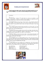 English Worksheet: Reading and Comprehension - Simple Past