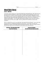 English Worksheets: West Side Story viewing guide