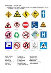 Road signs worksheets
