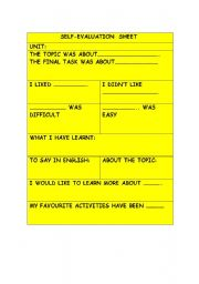 English Worksheet: Students´ self-evaluation sheet