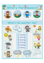English Worksheet: season and weather