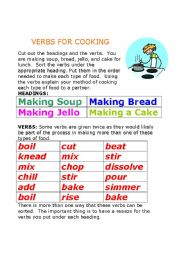 English Worksheet: Verbs for Cooking