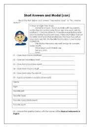 English Worksheets: short answers, modal (can)
